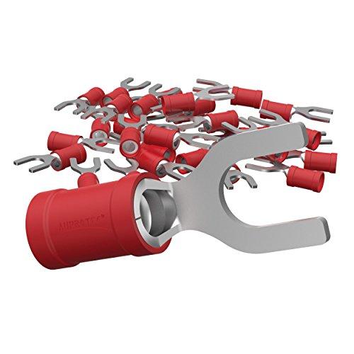 AUPROTEC 100x Gabelkabelschuhe 0,5 - 1,5 mm² rot, Loch-Ø M6 Teillisoliert PVC SV Kabel-Verbinder aus Kupfer verzinnt