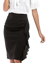5fc2c21f5f55 Damen Bleistiftrock Elegant Fashion Einfarbig High Waist mit Rüschen  Elastisch Mädchen Kleidung Slim Paket Hüfte Business
