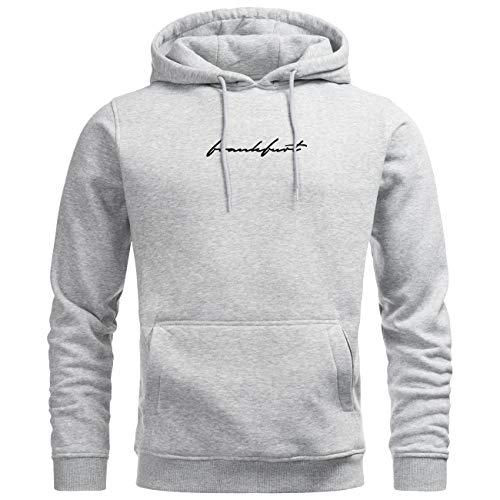 Mainwear - Frankfurt Hoodie - Frankfurt Sign - Herren - Qualitäts-Pullover mit hoher Grammatur (Heather Grey, XXL) - Unterschrift Herren Pullover