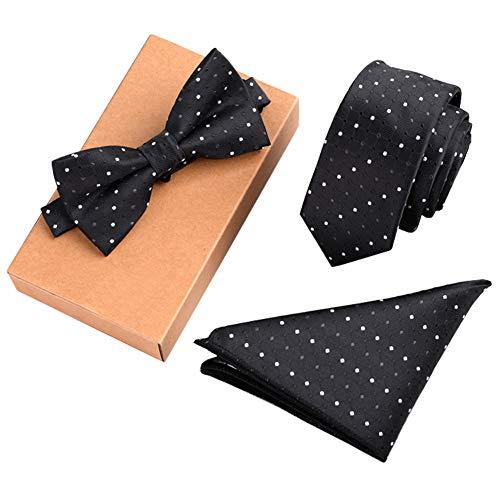 Chinashow Modische Premium Formale/informellen Krawatten Set, Krawatte/Fliege / Einstecktuch für Herren/Jungen, Schwarz-Weiß-Punkt