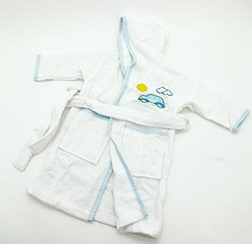 Kuscheliger Baby Bademantel aus 100% Baumwolle Größe 86 bestickt mit Auto in hellblau Hautfreundlich Ökotex geprüft Geschenk Set Serie Typ485