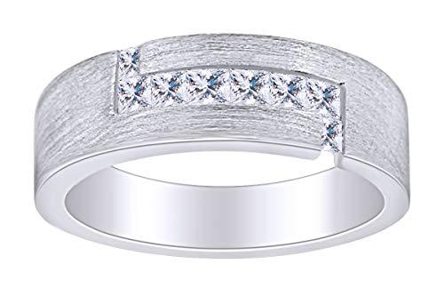 AFFY - Gold 14 Karat (585) 14kt Weiß-Gold Prinzessschliff Leicht Getöntes Weiß/Crystal (J) Diamant (Herren Gold Ringe 14kt)