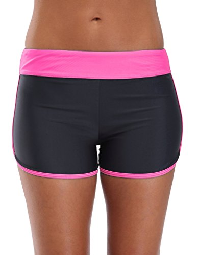 Attraco-Womens-Colour-Block-Swim-Shorts-Boyshorts-Beach-Bottoms-Swimming-Short