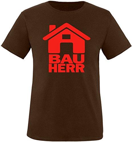 Luckja Bauherr Herren Rundhals T-Shirt Braun/Rot
