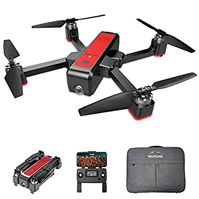 MARSMO WIFI FPV Drone with Full HD 2K Camera, B4W GPS Foldable Drone RC Quadcopter Helicopter for Adults & Beginners with Altitude Hold, 5G Live Video, Brushless Motor, Smart Return [2019 Newest]