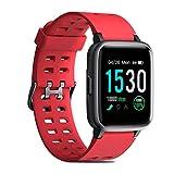 CHEREEKI Montre Connectée, IP68 1.3' Tracker d'Activité avec Moniteur de fréquence Cardiaque, Moniteur de Sommeil, podomètre, contrôle de la Musique, Rappel SMS pour iOS Android Homme Femmes (Rouge)