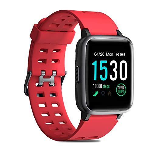 CHEREEKI Fitness Tracker, Smartwatch IP68 Impermeabile con Cardiofrequenzimetro, Contapassi, Cronometro e Touch Screen da 1.3 Pollici per iPhone Samsung Huawei Xiaomi (Rosso)