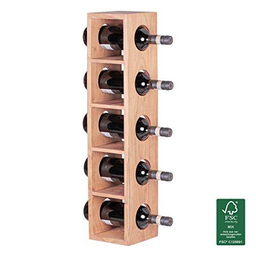 FineBuy Weinregal Massiv-Holz Flaschen-Regal Design Wandmontage für 5 Flaschen Holzregal modern mit Ablage 70 cm