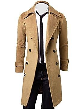 OverDose Hombres de invierno Slim elegante Trench Coat Double Breasted Chaqueta larga Parka (S, Caqui)