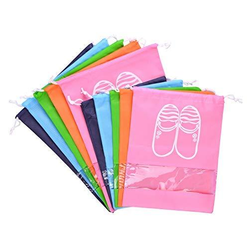 LABOTA 10PCS Zapatos de Viaje Bolso de Acabado Bolsa a Prueba de Polvo Zapatos Bolsa de Almacenamiento Bolsillo Bundle para Viajes y Hogar(5 * L + 5 * M)