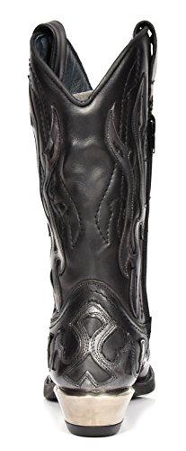 House of Luggage New Rock Hommes Biker Cowboy Bottes Noir Enfiler Flamme Design Chaussures en Cuir à Talons Western Gris Flamme
