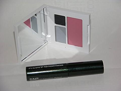 Clinique eye shadow & blusher trio, Smoke and Mirrors and powder blush Precious Posy and Black High Impact