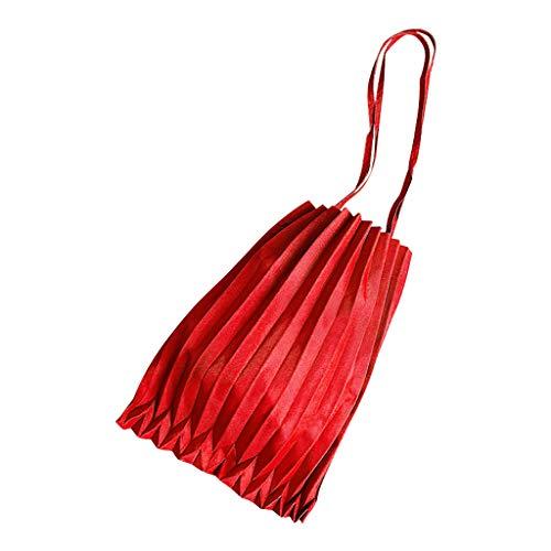 Leinwand Falten Anzug (WoWer Frauen Leinwand Plissee Tasche einfarbig candy Farbe große Kapazität Umhängetasche Einkaufstasche Sport- und Freizeithandtasche Süßigkeit Farben Falten Segeltuch)