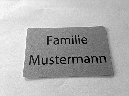KaiserstuhlCard Magnet Tür Schild Türschild Briefkasten Briefkastenschild magnetisch selbstklebend Aufkleber Haus Praxis Büro Wunschtext Wunschname silber