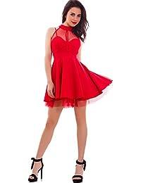 9122867b0caa Toocool - Vestito Donna Miniabito Corto Gonna Ruota Scollo Americana Velato  Nuovo CJ-2514