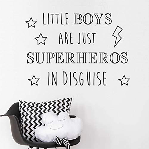 (YANCONG Wandtattoo Kinderzimmer Sterne Wörter Kunst Aufkleber Für Kindergarten Kleine Jungen Sind Superhelden In Disguise Wandaufkleber Blitz Wohnkultur Schlafzimmer 78X56Cm)