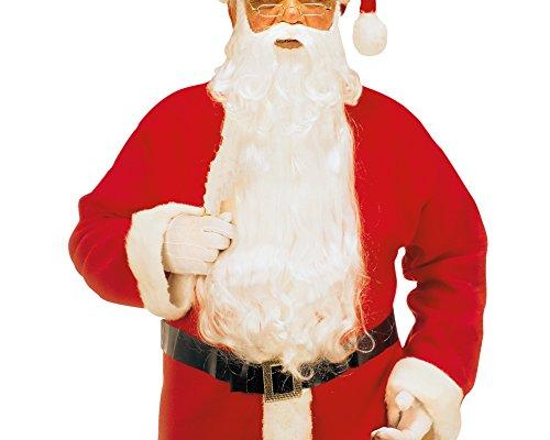 Widmann 1523C Luxus Weihnachtsmann, Maxi Bart mit Schnurrbart und Augenbrauen, weiß (Langer Bart Kostüm Ideen)