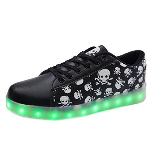 [Present:kleines Handtuch]JUNGLEST Schwarz 7 Farbe Unisex LED-Beleuchtung Blink USB-Lade Turnschuh-Schuhe Schwarz