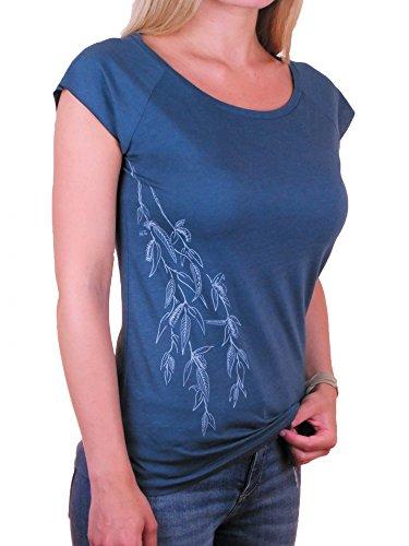 Fairwear Bambus Shirt Women Denim Blue Weidenast aus Viskose aus Bambus und Biobaumwolle von Life-Tree Größe L (Shirts Fruchtbarkeit)