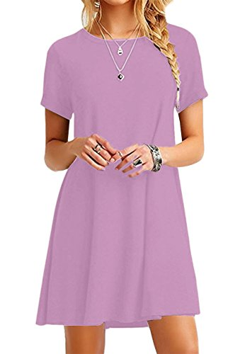 OMZIN Damen Mädchen T-Shirt Kleid Kurzarm Casual Kleid Locker Langes Shirt,Hell Violett,XXS