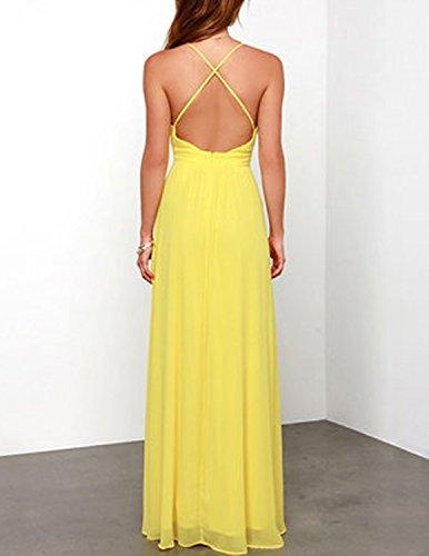 MODETREND Damen Strandkleid mit Bohemien Schlinge Elegant Sommerkleid Ballkleid Cocktail Kleider Gelb
