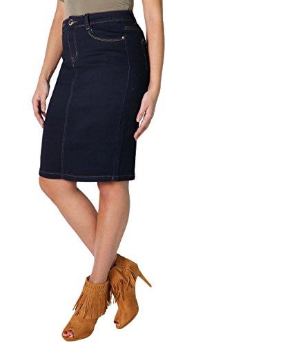 Fashion4Young 4544 Damen Jeansskirt Jeansrock Minirock knielanger Rock Jeans Blau 5 Gr/ö/ßen