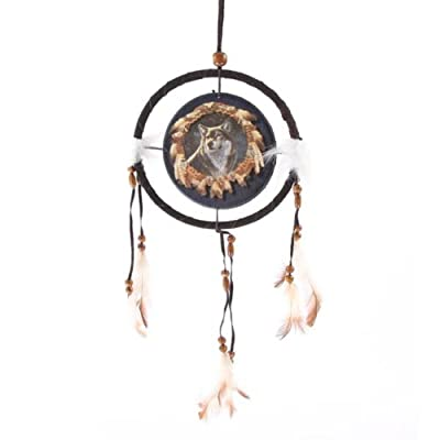 Wolf Dreamcatcher, Wolf in Feather Frame, Small -