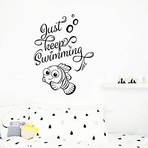 Modeganqingg Halten Sie einfach Schwimmen Wandtattoos Bad Fisch Vinyl Wandkunst Aufkleber schwarz...