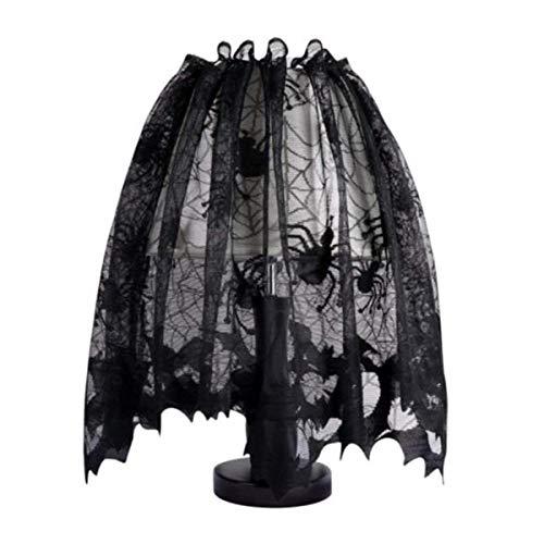 (Wei Xi Halloween schwarz Lampenschirme, mit Schleife, 152,4x 50,8cm Spitze Spider Kamin Mantel Schal Abdeckung Fenster Volant für schwarz Halloween Dekorationen)