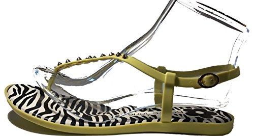 Sexy sandali, flip flop, infradito donna, verde-giallo, bianco, nero, nero-giallo, arancione-zebra o giallo-zebra, modello 11064105006001, con o senza loop o rivetti, modelli e numeri differenti. Giallo-zebra con rivetti.