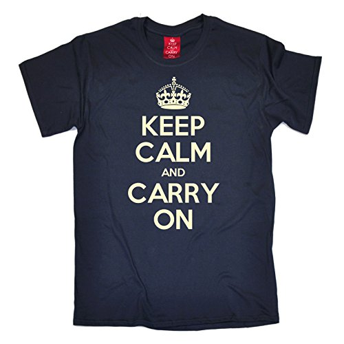 Official Keep Calm And Carry On -  T-shirt - Maniche corte - Uomo blu navy Medium