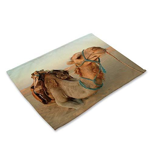 ZCHPDD Cammello del Deserto Occidentale di Arte della Biancheria del Cotone di Serie Animale Cammello Che Stampa 42 * 32Cm * 8Pcs