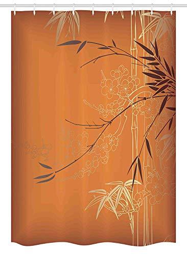 rhang Bambus Zweige und Blumen Illustration in lebendigen Farben Eastern Nature Theme Stoff Badezimmer Dekor Set mit180x180CM Orange Gold Braun ()
