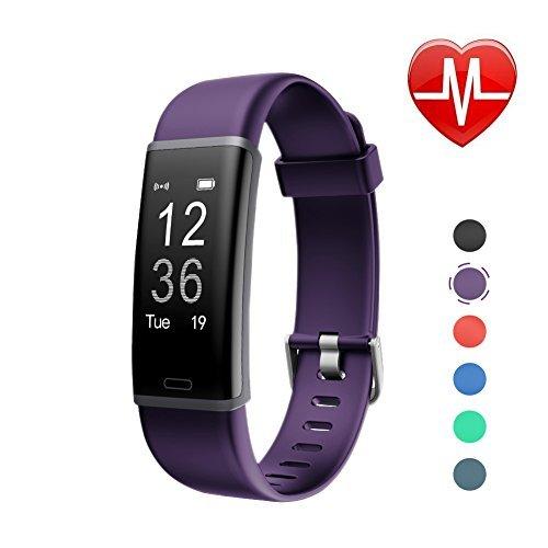 LETSCOM Fitness Armband mit Pulsmesser Fitness Tracker wasserdicht IP67, Schrittzähler, Pulsuhren, Kalorienzähler, Schlaf Monitor, Smart Armbanduhr für Kinder, Damen und Herren (Violett)