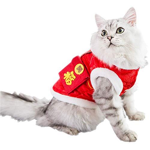 HYCy Haustier-Kostuuml;m, Katze Haustier Tang-Anzug Winter Warm Suuml;szlig; Kleidung, Klein Mittel Mantel Gluuml;cklich Katze Coustem