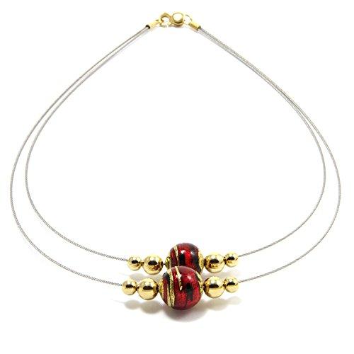 Aurea de section Patrizia Blasucci-Firenze-où la feuille d'or fiorentina s'associe au Verre de Murano (CAD009) rouge/noir