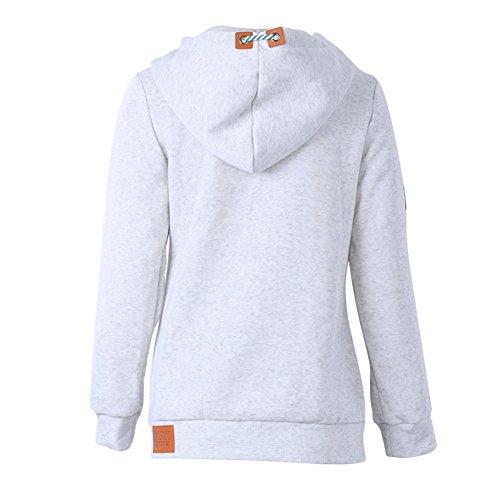Felpe Donne Autunno Inverno - Cappotti Oversize Hoodie Maniche lunghe Sweatshirt Casual Sport Quotidiano Rosa Giallo Grigio Blu Rosso 7 Colori 8 taglie S-5XL Juleya Grigio chiaro