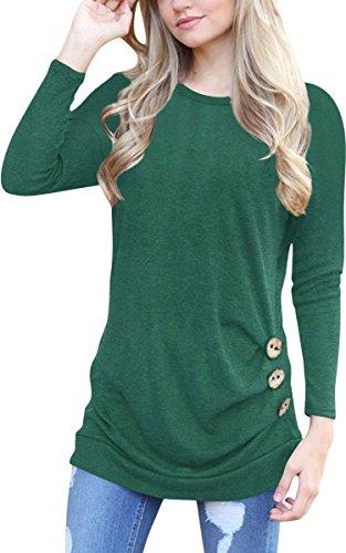 ECOWISH Langarmshirt Damen Pullover Frühling Knopf Rundhals Tshirt Hemd Oberteile Tops Grün M