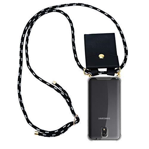 Cadorabo Handy Kette für Samsung Galaxy Note 3 in SCHWARZ Silber - Silikon Necklace Umhänge Hülle mit Gold Ringen, Kordel Band Schnur und abnehmbarem Etui - Schutzhülle