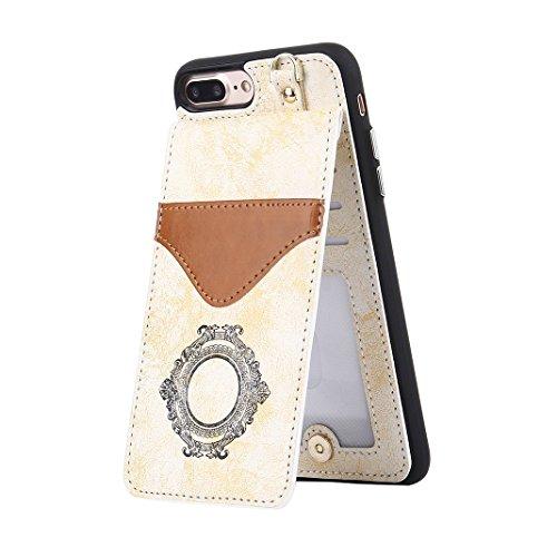 iPhone 7 Plus Wallet Hülle, Rosa Schleife Weiche TPU Silikon Schutzhülle Stand Handyhuelle Backcover Brieftasche Tasche Kartensteckplatz Mirror Cases mit Vintage Mandala Muster Design für iPhone 7 Plu Weiß