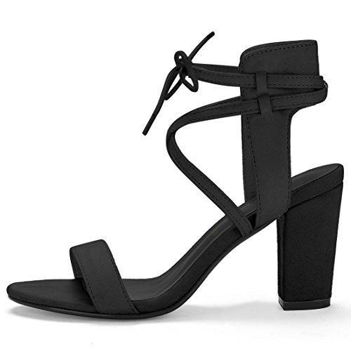 Grosso CI aperta Sandali Donnepunta Allegra alta tacco caviglia K Nero cravatta 9 Black 1 con vYqwS