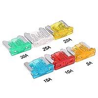 UNHO 24 Pcs Assorted Auto Low Profile Micro Mini Blade Fuse, Car Truck SUV Boat Micro Zinc Mini Blade Fuse(5, 10, 15, 20, 25, 30 AMP)