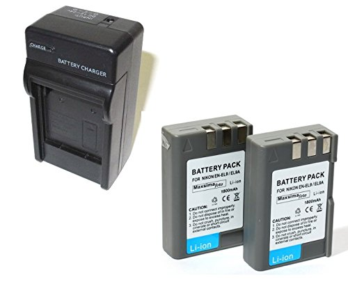 Maxsimafoto - EN-EL9 compatible Mains / Car Travel Charger Kit - Including 2x 1800mAh Batteries for Nikon D40 D40X D60 D3000 D5000, EN-EL9A - MH-23 ENEL9 - By Maxim Foto Supplies Car-travel-kit