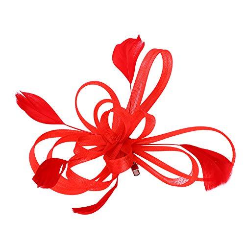 Fascinator elegant mit Federn Haarschmuck hut vintage modisch für Weihnachten Halloween Braut Tea Party Kostüm Karneval Fasching Royal Ascot Schleier Mädchen Frauen Damen Headwear Mini aus Mesh Rot