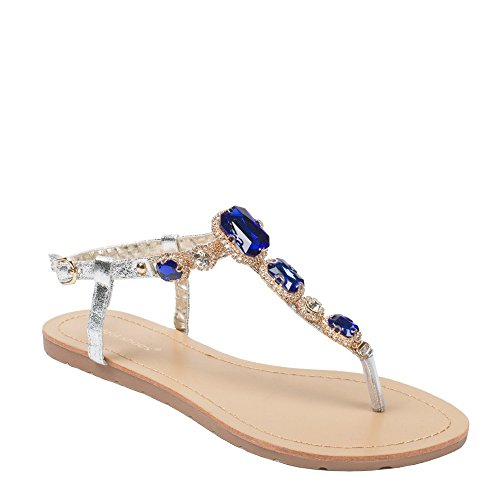 Ideal Shoes Nu-Pieds Effet Pailleté et Incrusté de Strass Venda Bleu