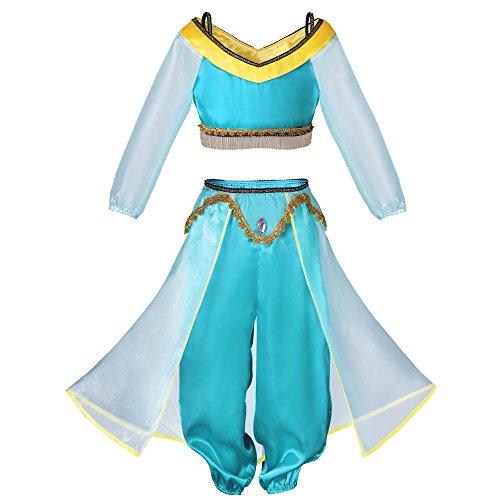 (Pettigirl Mädchen Arabische Märchen Cosplay Prinzessin Kostüm Schön 3pcs Fancy Anzug (140-150cm, Grün))