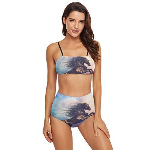 funnyy Lustiger Bikini mit Pferdemotiv, Weltraum, zweiteilig, Badeanzug, Badeanzug, Badeanzug für Damen, Teenager und Mädchen Gr. XL, Mehrfarbig