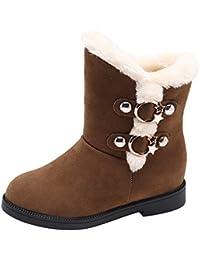 FeiBeauty Frauen Wildleder Einfarbig Runde Zehe Wedges Schuhe Halten Warme  Slip-On Schnee Stiefel Winterstiefel 00bcecff71
