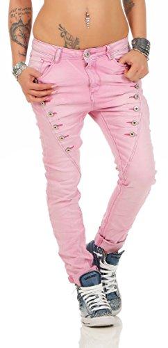 Fashion4Young 10826 MOZZAAR Damen Jeans Jeans Röhrenjeans Haremshose Damenjeans  Hüftjeans Baggy (L 40, 85b0156b7a