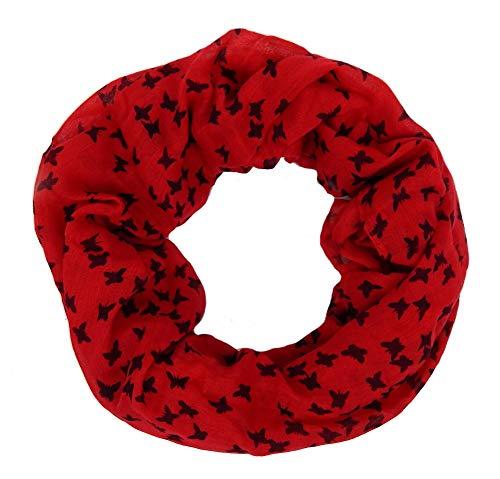 op rot schwarz Schmetterlinge Mädchen weicher leichter Schal ()